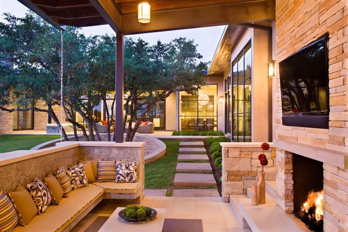 Балкон, веранда, патио в цветах: желтый, серый, коричневый, бежевый. Балкон, веранда, патио в стиле экологический стиль.