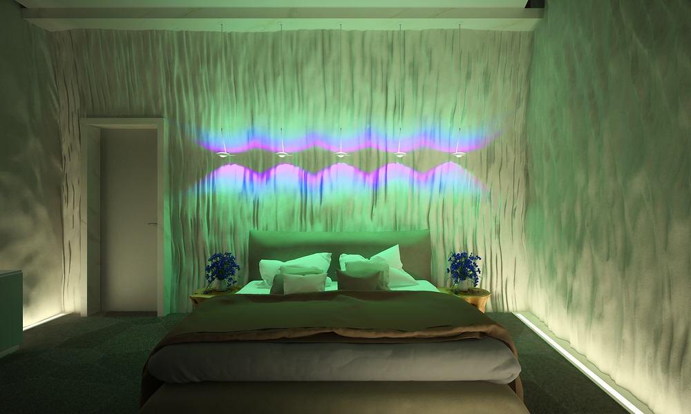 Спальня в цветах: серый, темно-зеленый, салатовый, бежевый. Спальня в стилях: минимализм, экологический стиль.