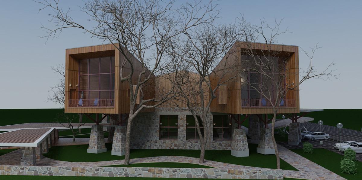Проект дома для трёх семей в Пятигорске: чтоб из каждого окошка было видно гор немножко