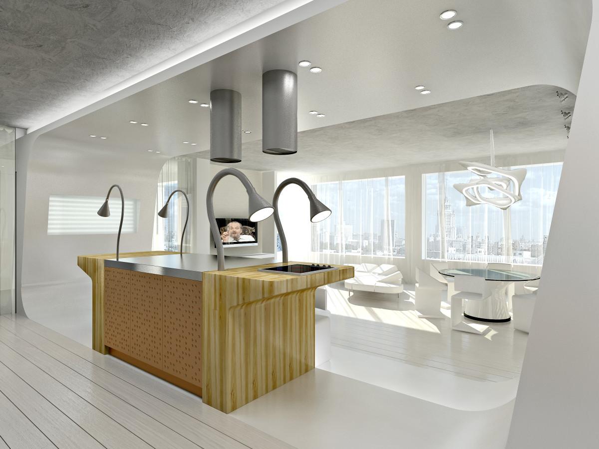 Кухня/столовая в  цветах:   Бежевый, Белый, Светло-серый, Серый.  Кухня/столовая в  стиле:   Хай-тек.