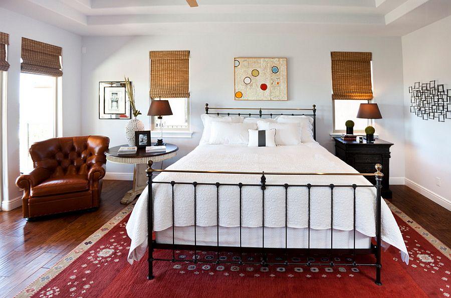 Спальня в  цветах:   Белый, Бордовый, Светло-серый, Темно-коричневый, Черный.  Спальня в  стиле:   Эклектика.