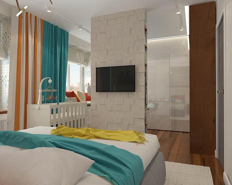Спальня в  цветах:   Бежевый, Светло-серый, Серый, Синий, Темно-коричневый.  Спальня в  стиле:   Минимализм.
