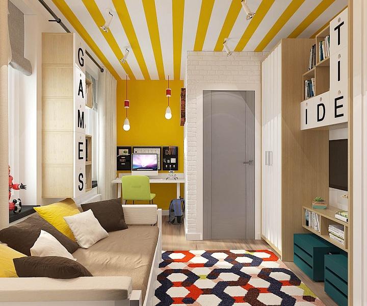 Гостиная в  цветах:   Бежевый, Желтый, Коричневый, Светло-серый, Серый.  Гостиная в  стиле:   Минимализм.