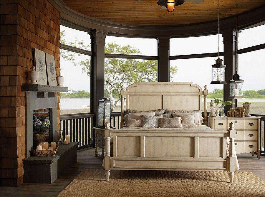 Спальня в  цветах:   Бежевый, Белый, Коричневый, Темно-коричневый, Черный.  Спальня в  стиле:   Кантри.