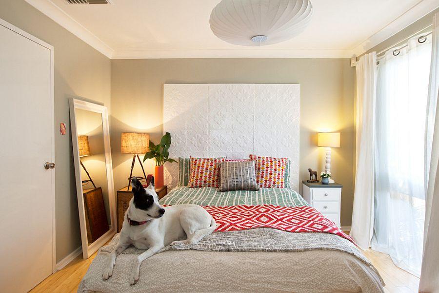 Спальня в  цветах:   Бежевый, Белый, Светло-серый.  Спальня в  стиле:   Эклектика.