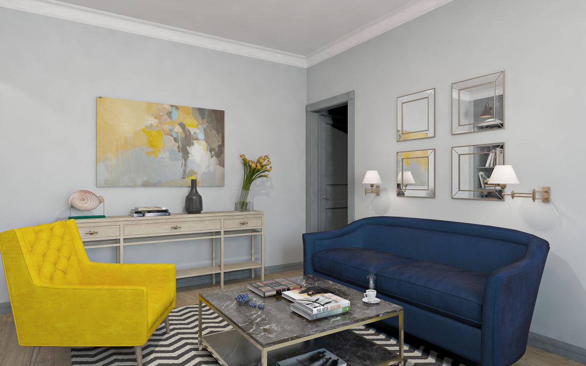 Гостиная в  цветах:   Бежевый, Желтый, Светло-серый, Серый, Черный.  Гостиная в  стиле:   Эклектика.