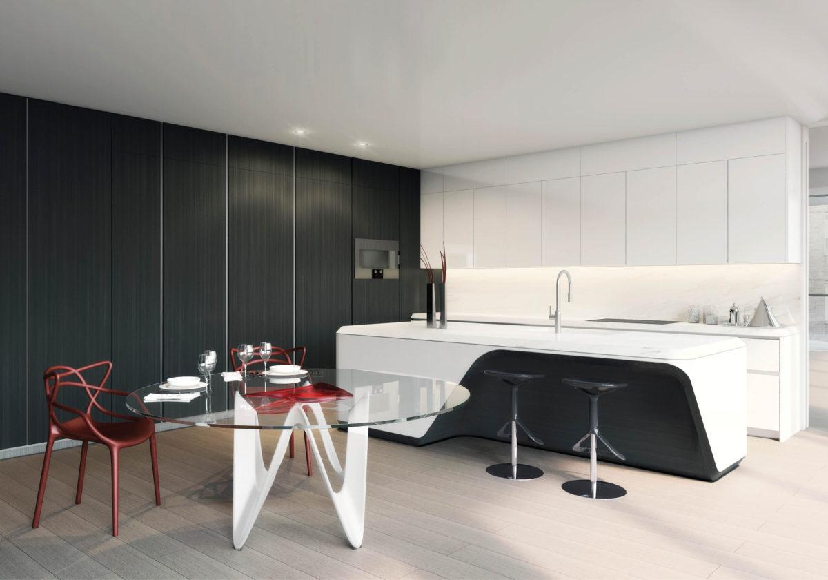 Кухня/столовая в  цветах:   Бежевый, Белый, Светло-серый, Серый, Черный.  Кухня/столовая в  стиле:   Хай-тек.