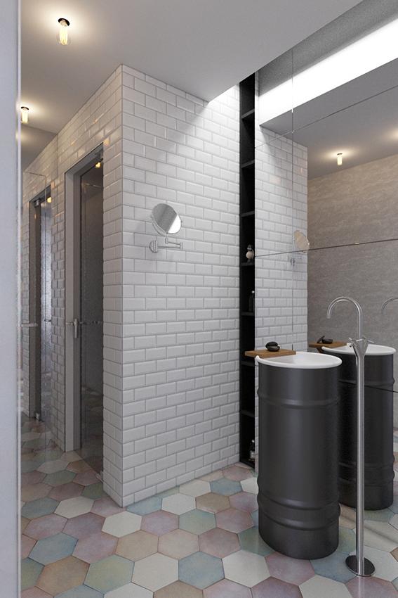 Ванная в  цветах:   Бежевый, Светло-серый, Серый, Черный.  Ванная в  стиле:   Скандинавский.