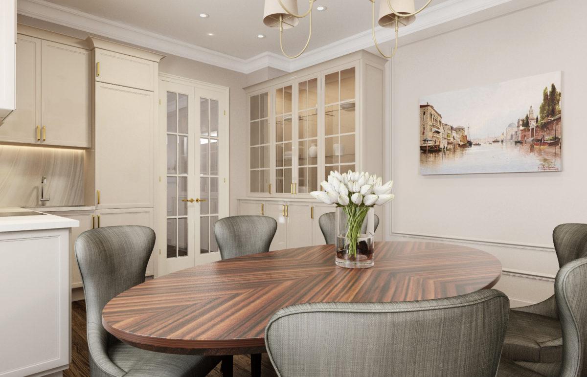 Кухня/столовая в  цветах:   Бежевый, Светло-серый, Серый, Темно-коричневый.  Кухня/столовая в  стиле:   Неоклассика.