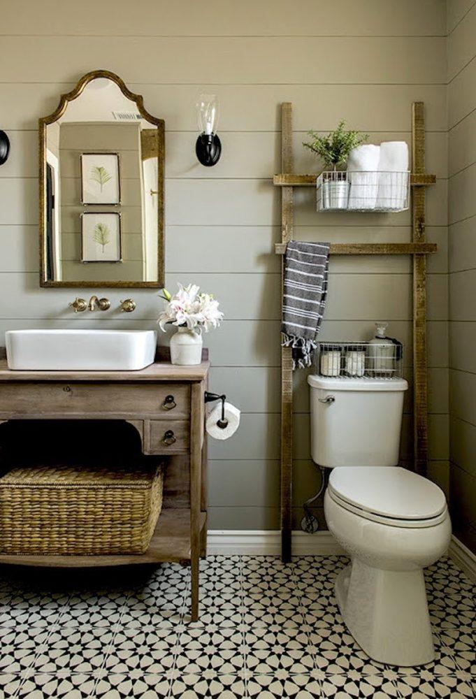 Ванная в  цветах:   Бежевый, Светло-серый, Серый, Темно-коричневый, Черный.  Ванная в  стиле:   Кантри.