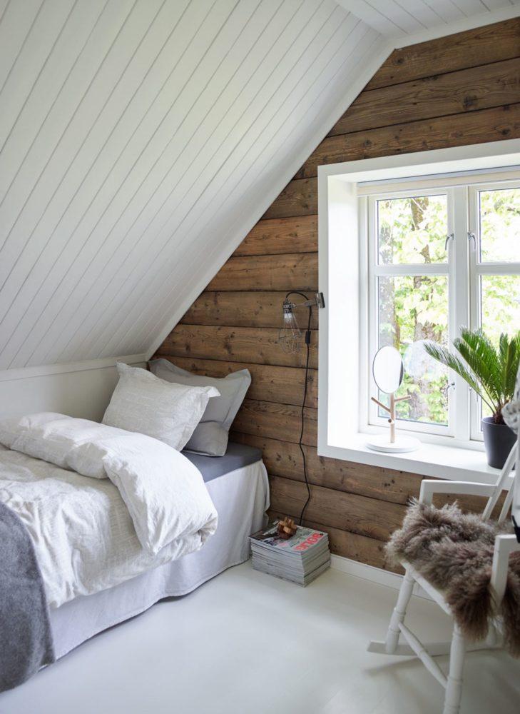 Спальня в  цветах:   Белый, Коричневый, Светло-серый, Серый, Темно-коричневый.  Спальня в  стиле:   Скандинавский.