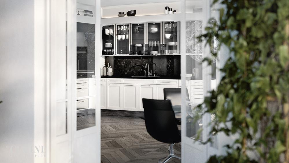 Кухня/столовая в  цветах:   Белый, Светло-серый, Серый, Темно-зеленый, Черный.  Кухня/столовая в  стиле:   Минимализм.