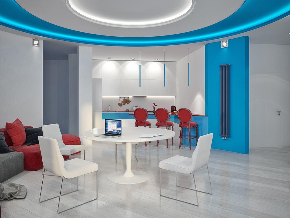 Трёхкомнатная квартира с круглой гостиной, фиолетовыми шторами и яркой детской: так живёт семья бухгалтера и гейм-тестера
