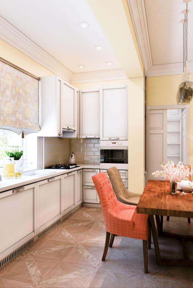 Кухня/столовая в  цветах:   Бежевый, Белый, Коричневый, Светло-серый, Черный.  Кухня/столовая в  стиле:   Неоклассика.