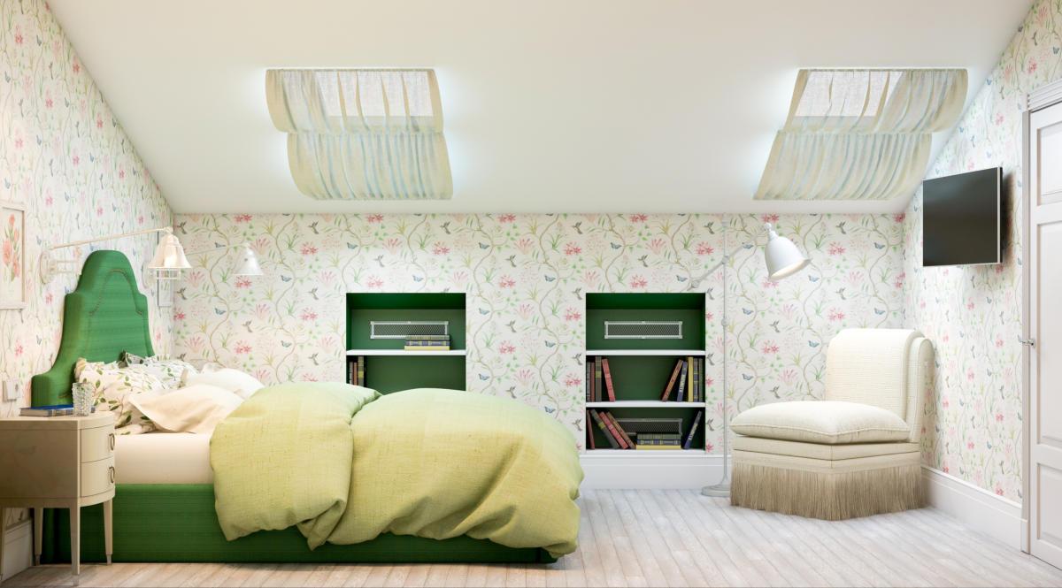 Спальня в  цветах:   Бежевый, Белый, Светло-серый, Темно-зеленый.  Спальня в  стиле:   Неоклассика.