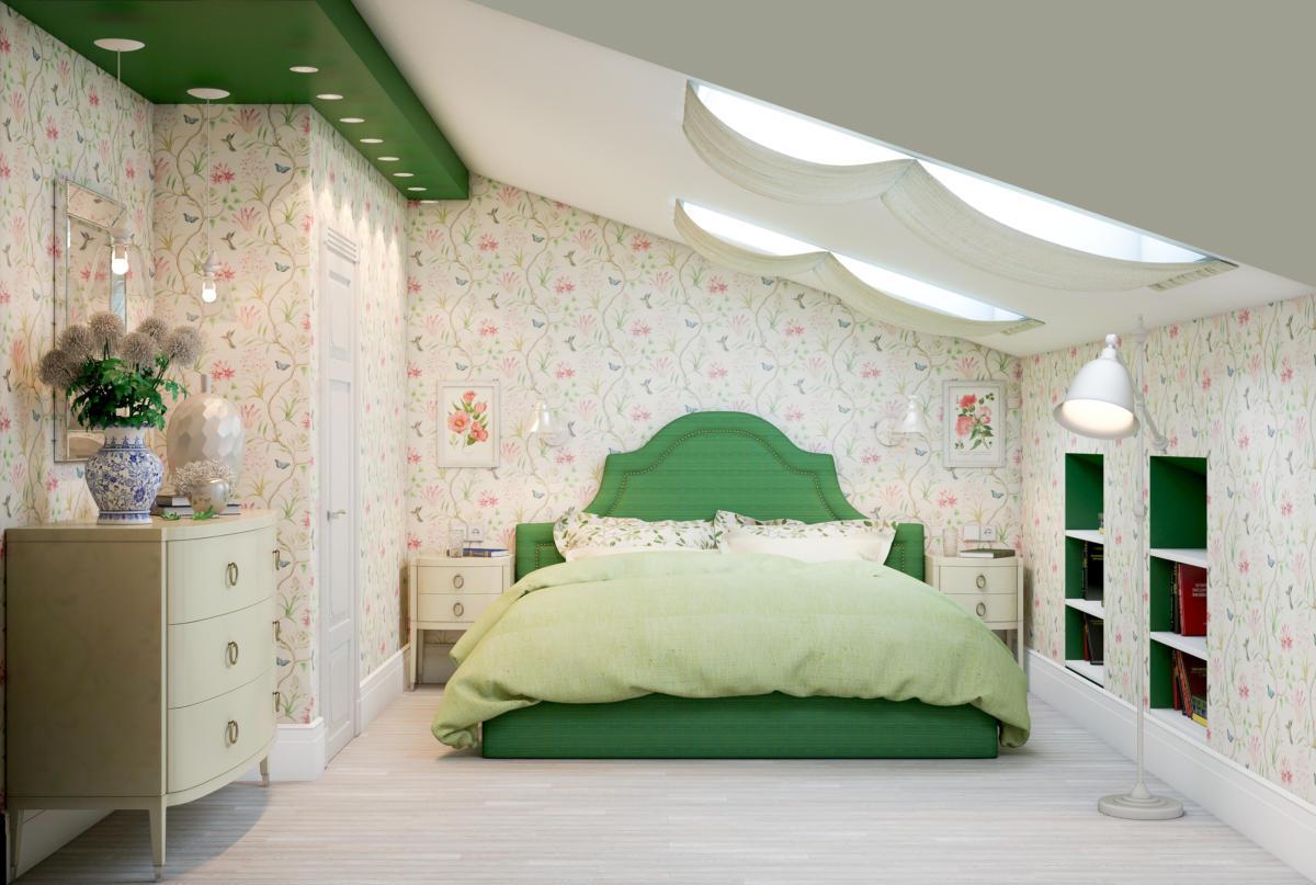 Спальня в  цветах:   Бежевый, Светло-серый, Темно-зеленый.  Спальня в  стиле:   Неоклассика.