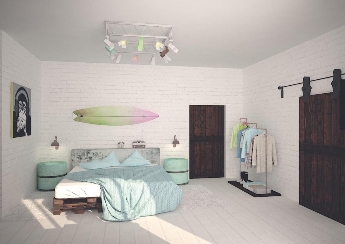 Квартира в стиле лофт с белыми кирпичными стенами, мебелью из паллет и амбарными дверьми