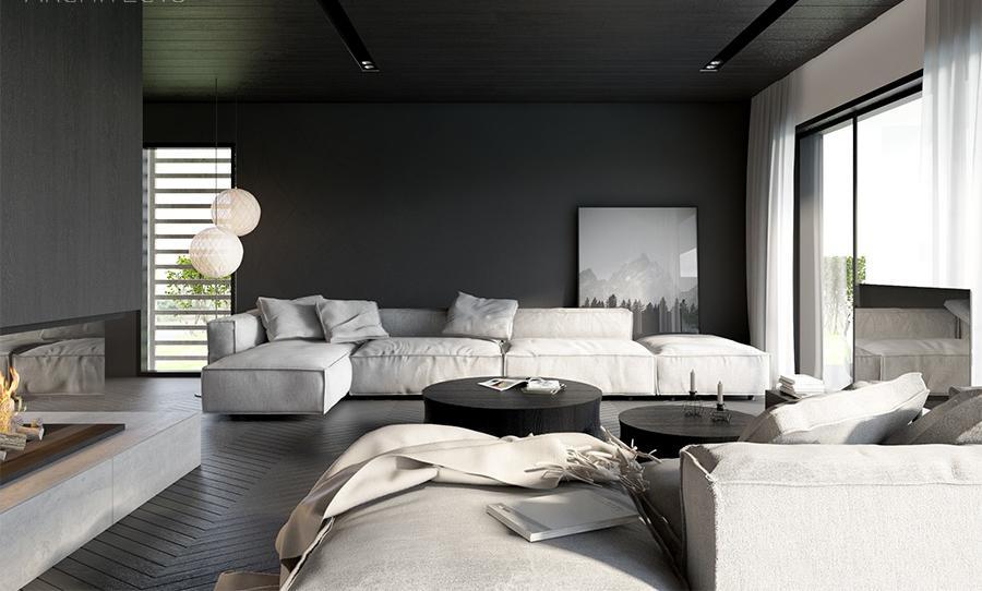 Гостиная в  цветах:   Белый, Светло-серый, Серый, Черный.  Гостиная в  стиле:   Минимализм.