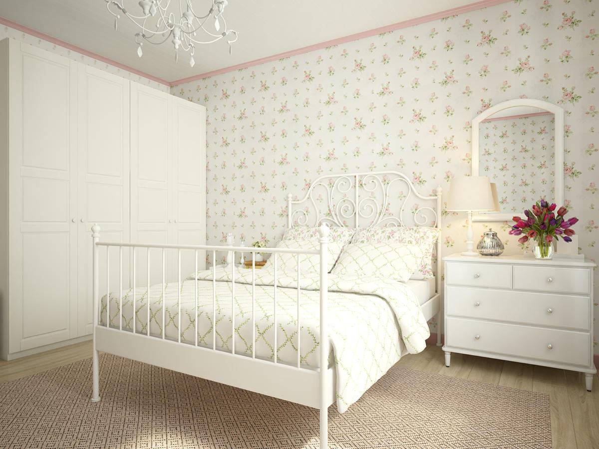 Спальня в  цветах:   Бежевый, Белый, Светло-серый.  Спальня в  стиле:   Прованс.