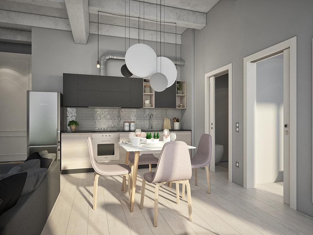 Кухня/столовая в  цветах:   Бежевый, Светло-серый, Серый.  Кухня/столовая в  стиле:   Лофт.