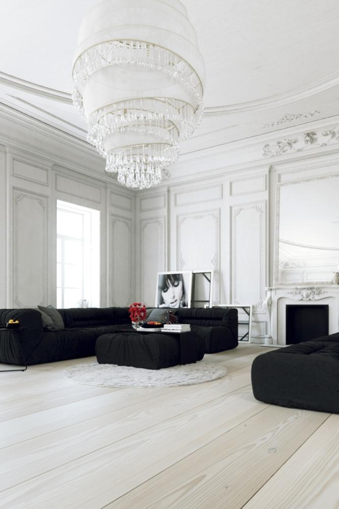 Гостиная в  цветах:   Белый, Светло-серый, Черный.  Гостиная в  стиле:   Минимализм.