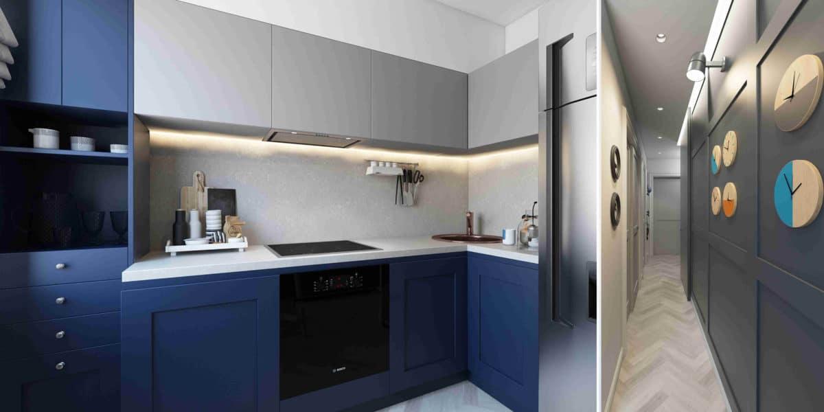 Кухня/столовая в  цветах:   Бежевый, Светло-серый, Серый, Фиолетовый, Черный.  Кухня/столовая в  стиле:   Минимализм.