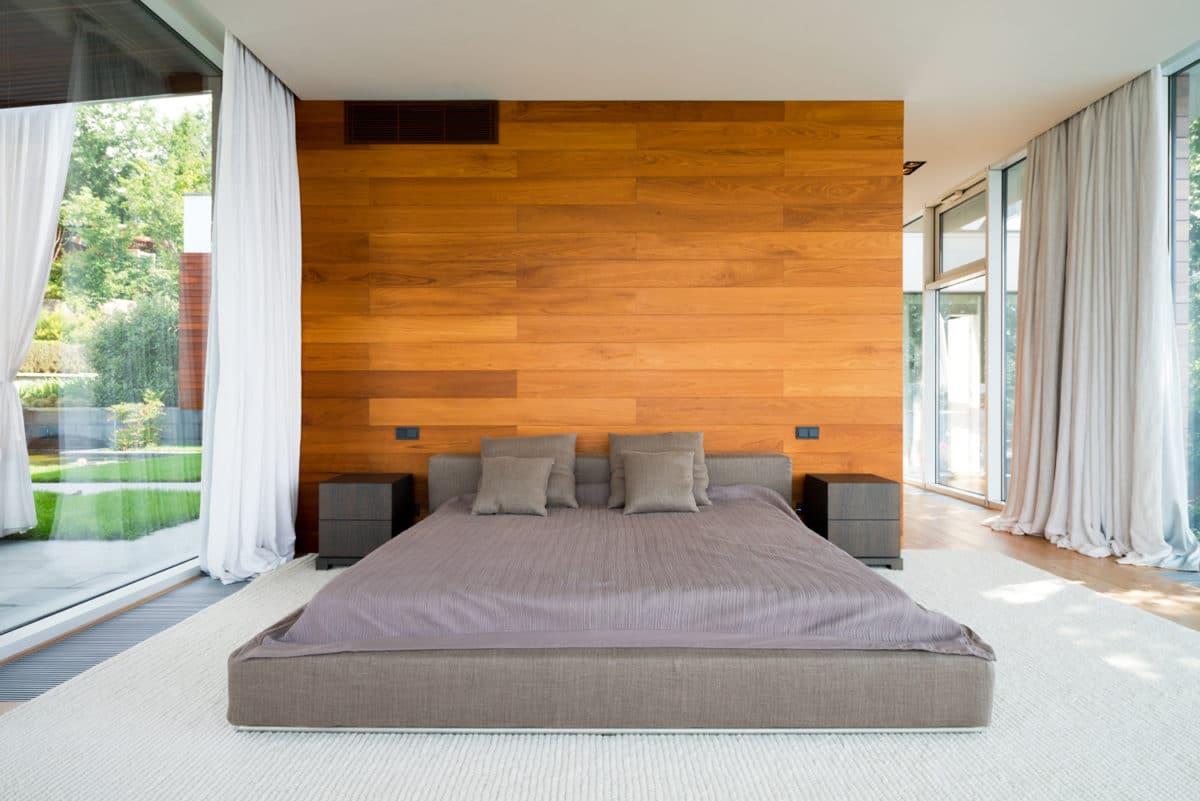 Спальня в  цветах:   Бежевый, Коричневый, Оранжевый, Светло-серый, Серый.  Спальня в  стиле:   Минимализм.