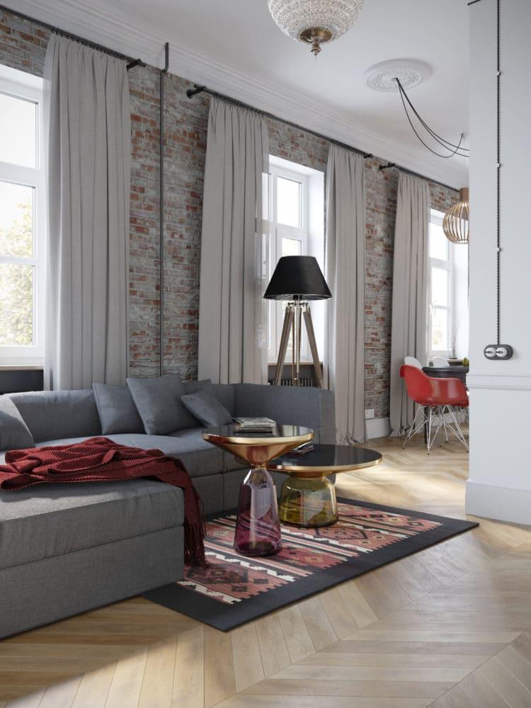 Гостиная в  цветах:   Бежевый, Светло-серый, Серый, Темно-коричневый, Черный.  Гостиная в  стиле:   Лофт.