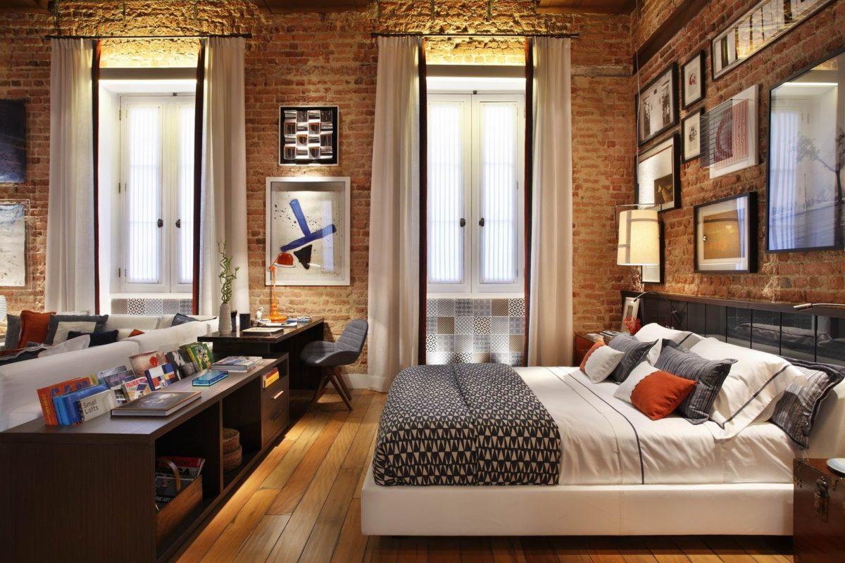 Спальня в  цветах:   Бежевый, Коричневый, Светло-серый, Темно-коричневый, Черный.  Спальня в  стиле:   Лофт.