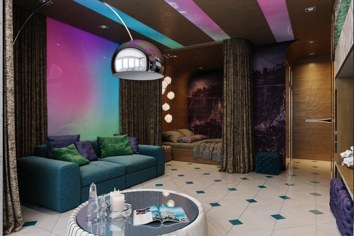 Квартира как ночной клуб: однушка для бизнесмена, который любит вечеринки