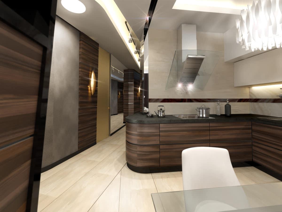 Кухня/столовая в  цветах:   Бежевый, Белый, Светло-серый, Темно-коричневый, Черный.  Кухня/столовая в  стиле:   Неоклассика.