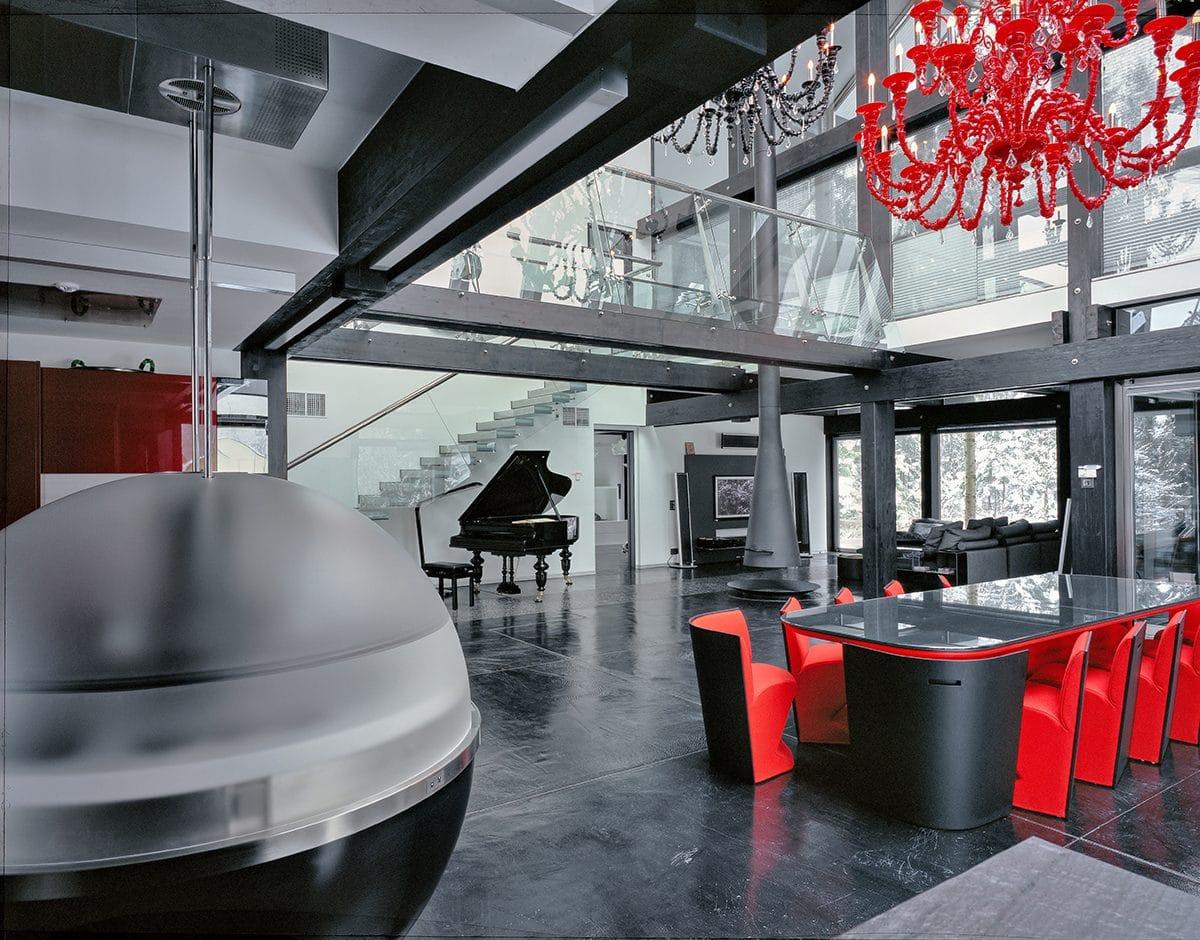 Кухня/столовая в  цветах:   Светло-серый, Серый, Синий, Черный.  Кухня/столовая в  стиле:   Минимализм.