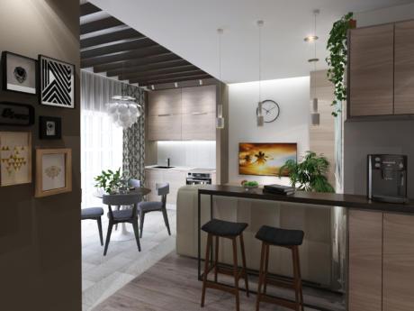 Кухня/столовая в  цветах:   Светло-серый, Серый, Черный, Коричневый, Темно-коричневый.  Кухня/столовая в  стиле:   Скандинавский.