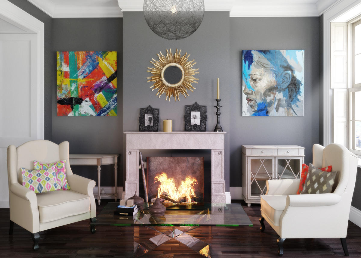 Гостиная в  цветах:   Бежевый, Светло-серый, Серый, Темно-коричневый, Черный.  Гостиная в  стиле:   Эклектика.