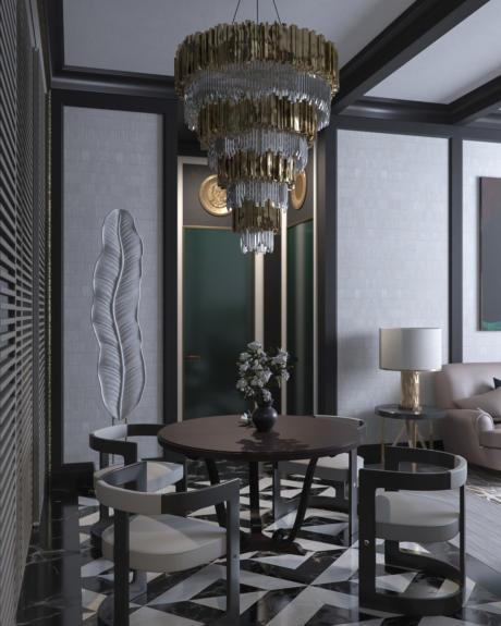 Кухня/столовая в  цветах:   Светло-серый, Серый, Бирюзовый, Фиолетовый.  Кухня/столовая в  стиле:   Эклектика.