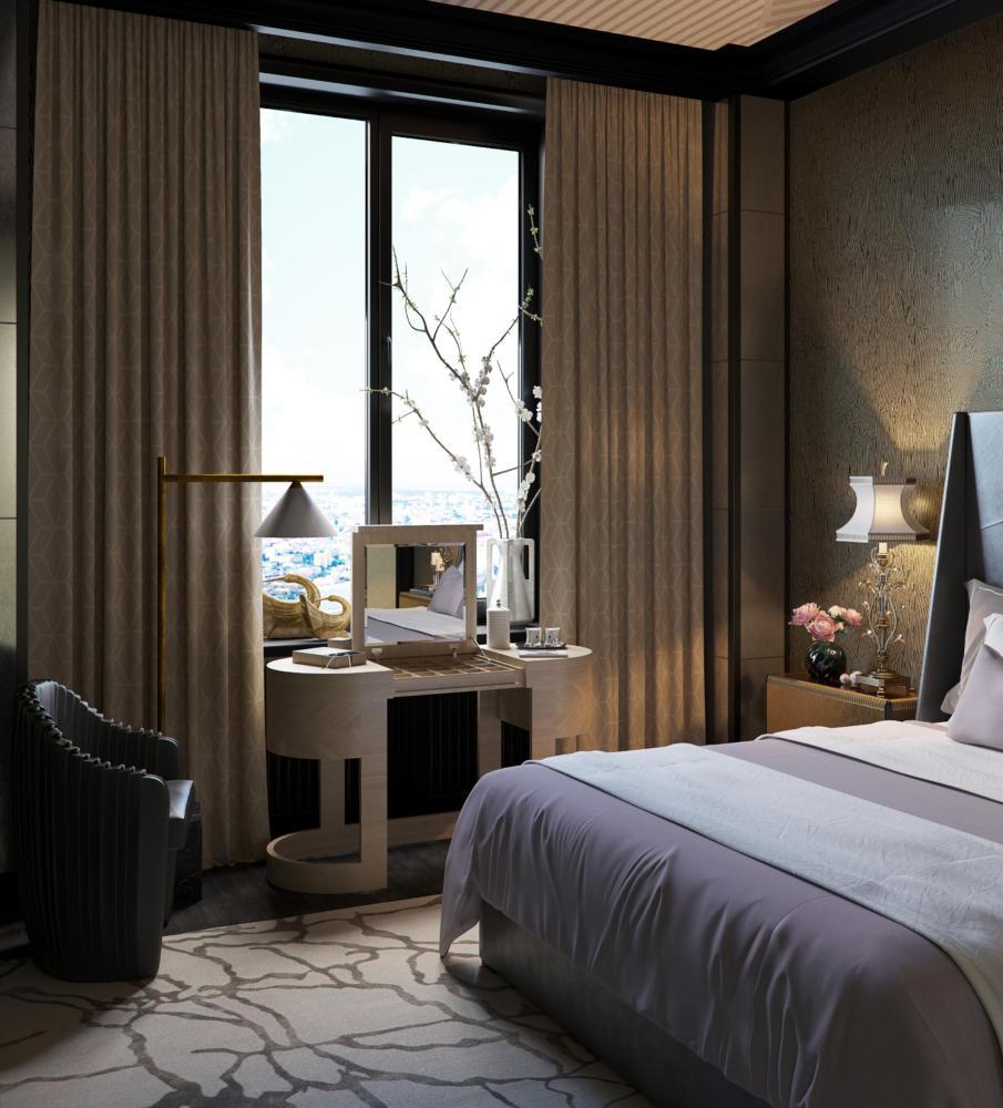 Спальня в  цветах:   Бирюзовый, Коричневый, Светло-серый, Серый, Темно-коричневый.  Спальня в  стиле:   Эклектика.