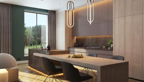 Кухня/столовая в  цветах:   Светло-серый, Коричневый, Темно-коричневый, Бежевый, Зеленый.  Кухня/столовая в  стиле:   Минимализм.