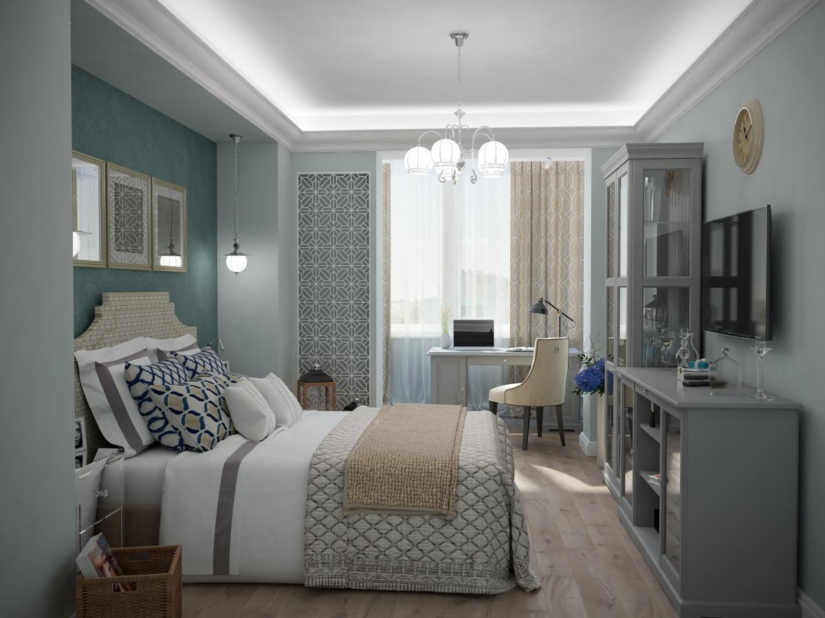 Спальня в  цветах:   Голубой, Светло-серый, Серый, Темно-коричневый.  Спальня в  стиле:   Неоклассика.
