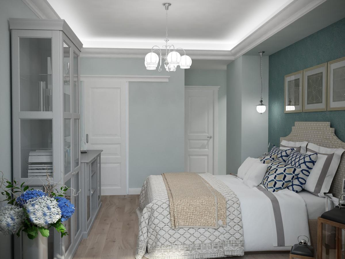Спальня в  цветах:   Светло-серый, Серый, Синий, Темно-зеленый, Темно-коричневый.  Спальня в  стиле:   Неоклассика.
