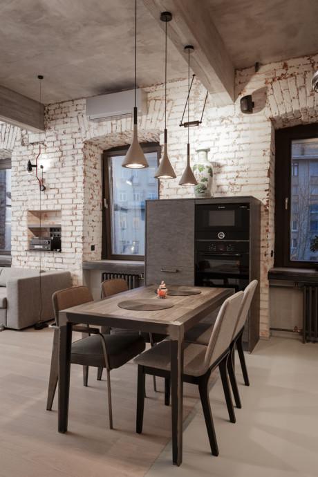 Кухня/столовая в  .  Кухня/столовая в  стиле:   Лофт.