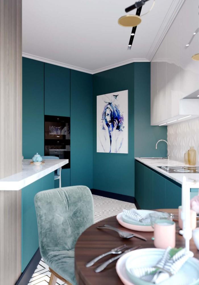 Кухня/столовая в  цветах:   Бежевый, Бирюзовый, Бордовый, Светло-серый, Синий.  Кухня/столовая в  стиле:   Минимализм.