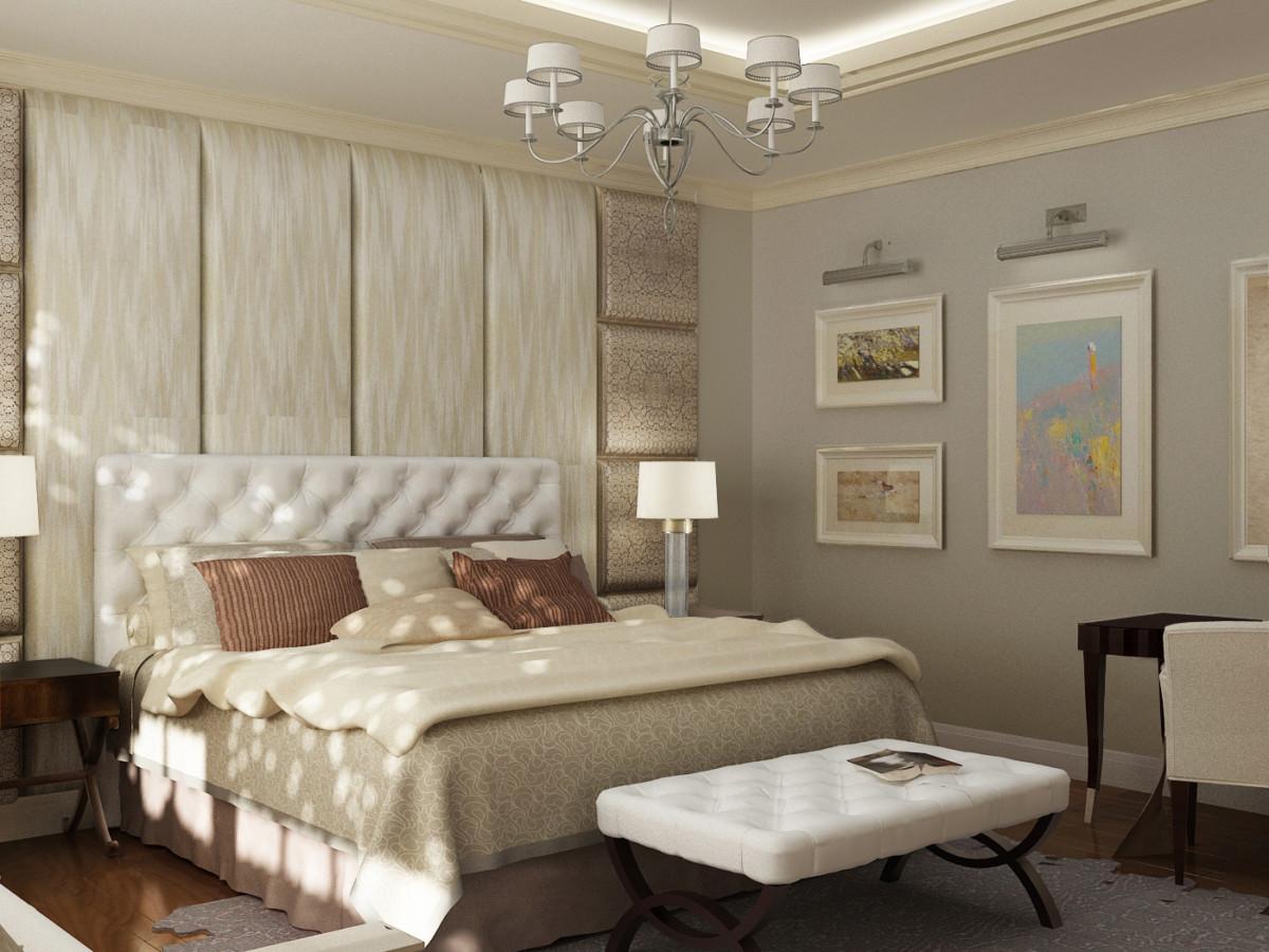 В спальне мягкие стеновые панели дополняют изголовье кровати, создавая камерную обстановку и уют.
