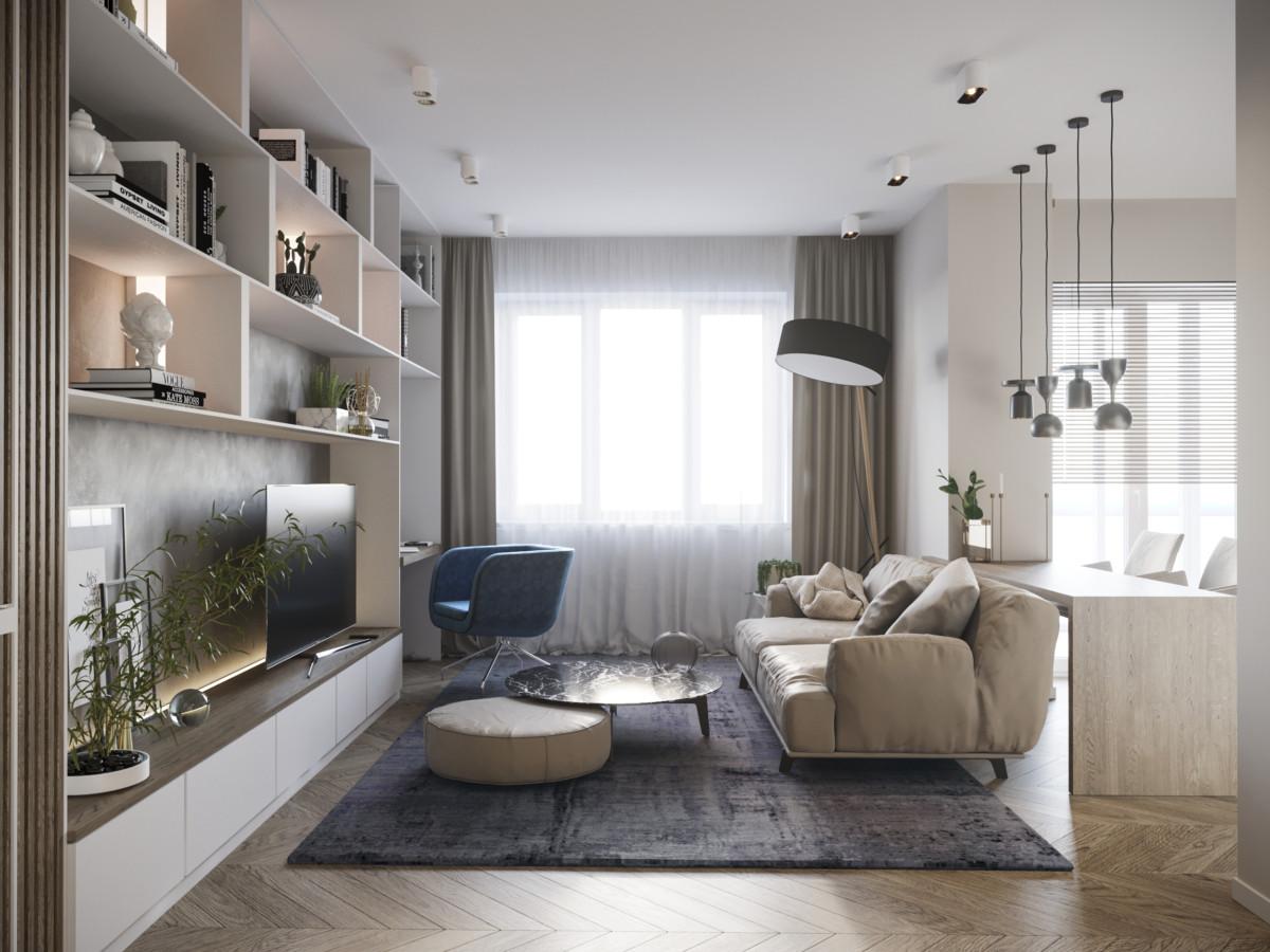 Гостиная оформлена в песочных тонах с цветовыми акцентами, совмещает зону для гостей, просмотра ТВ, рабочий уголок.