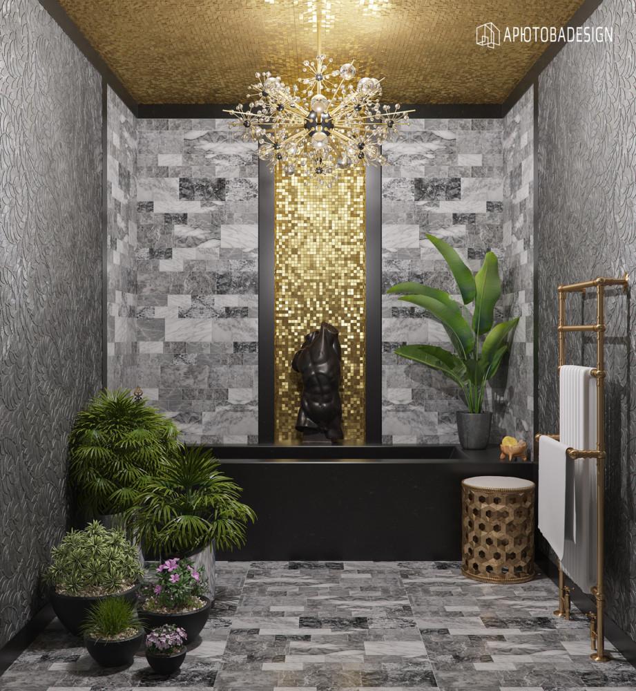 Дизайн ванной начался с задумки сочетать чёрный мрамор и золотую мозаику. Чёрно-золотая гамма всегда роскошна.