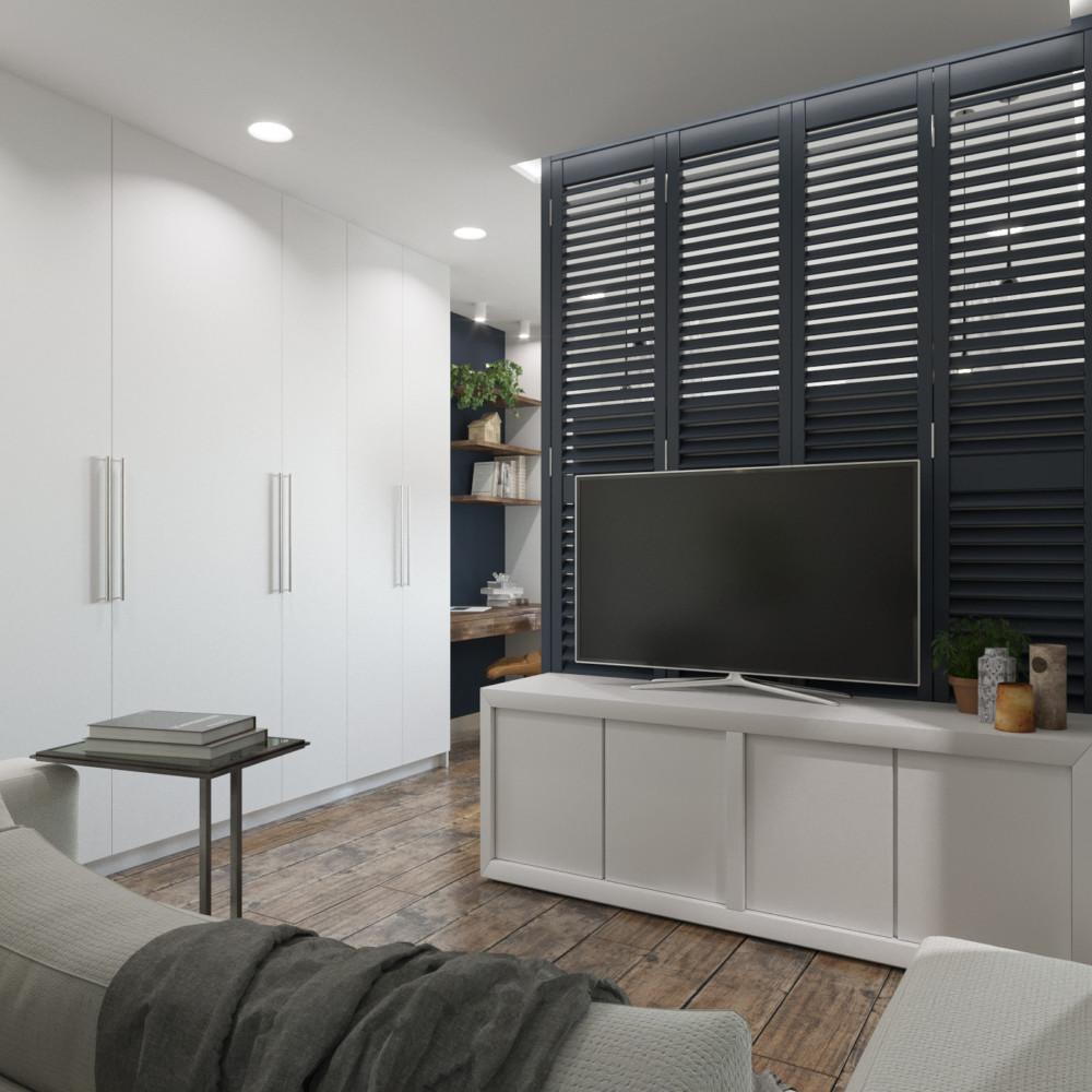 В комнате предусмотрена система гардеробной, а лёгкая перегородка-жалюзи делит комнату на зоны.