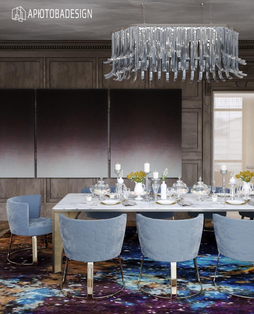 На этом виде столовой акцентирую внимание на триптихе художника Shen Chen.