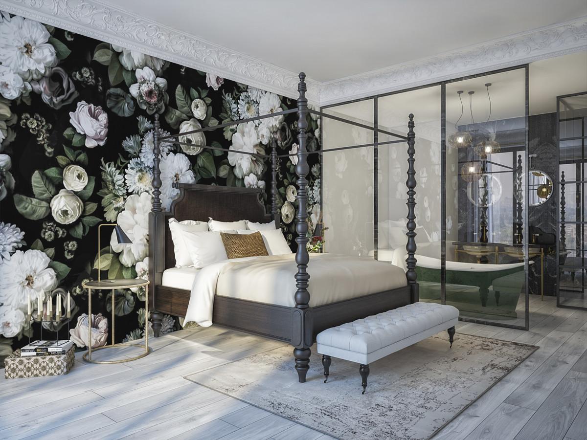 Дизайн квартиры: зелёные стены, роскошная мебель и ванная за стеклом