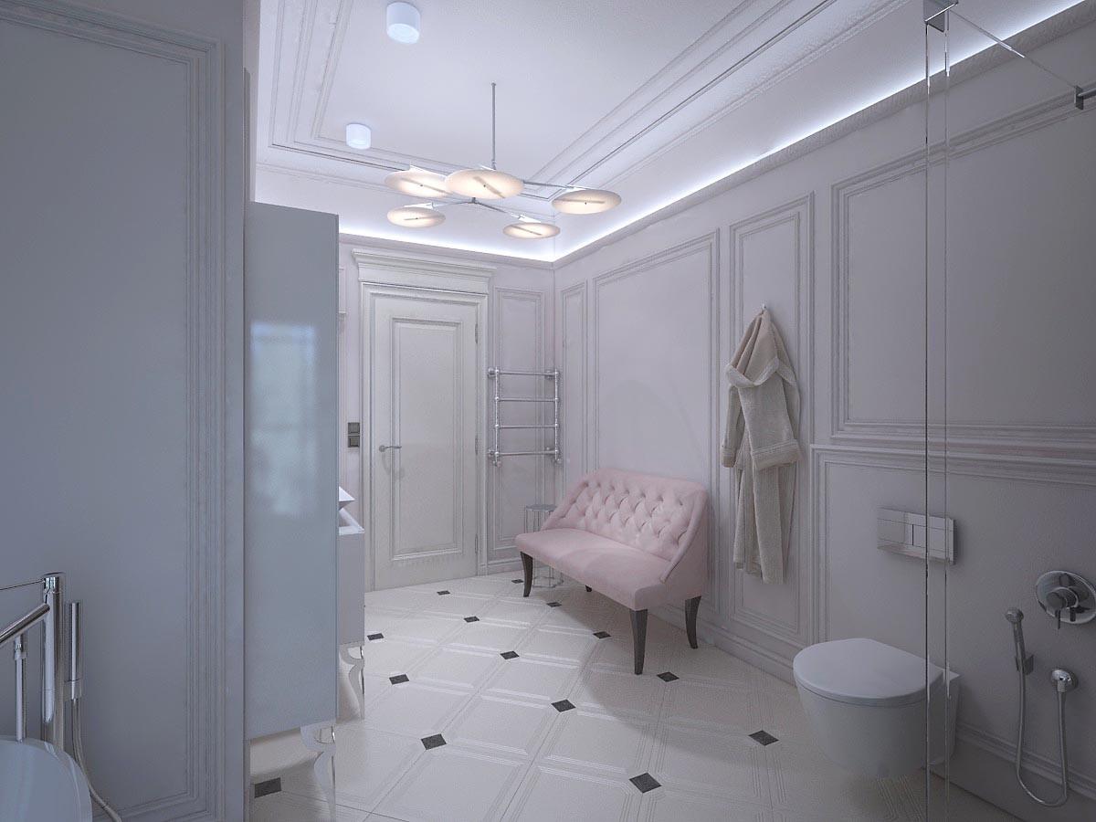 Потолок, как и стены, оформлен гипсовой лепниной. На стены добавили закарнизную подсветку.