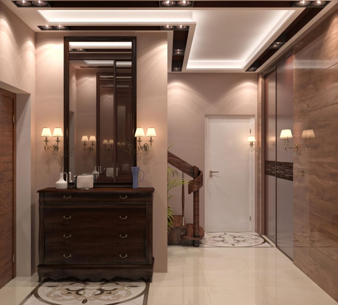 Высокое зеркало в холле подчёркивает конструкцию потолка.