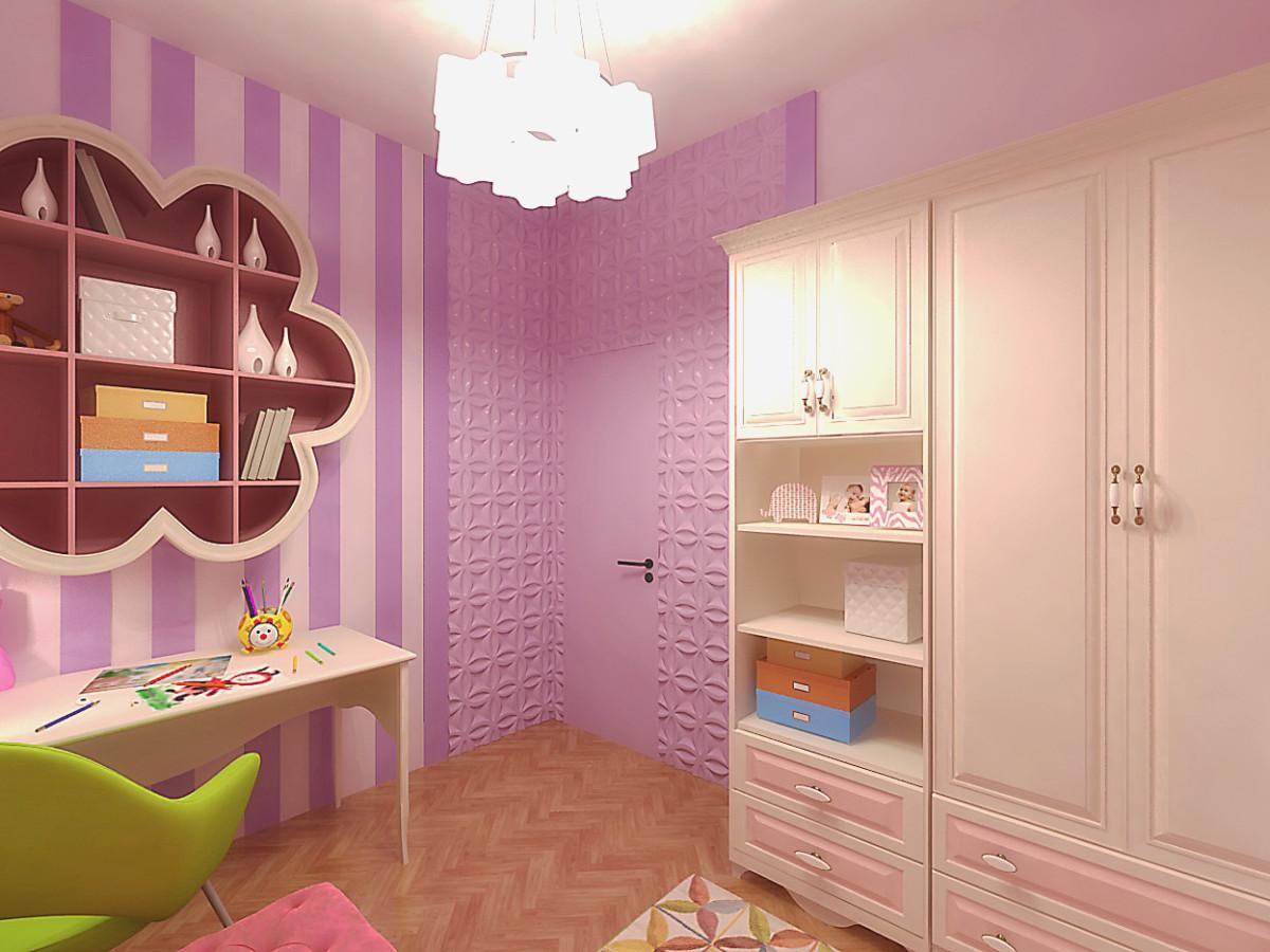 Детская площадью 18 кв. м отличается по стилю от основных помещений. Детская — это всегда полёт фантазии.